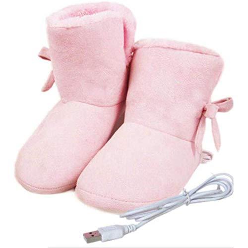 WYEZ Aufheizbare Hausschuhe USB Elektrischer Hausschuhe Beheizt Plüsch Schuh Erwärmung Hausschuhe halten Fußwärmer Abnehmbar Waschbar,Rosa,38