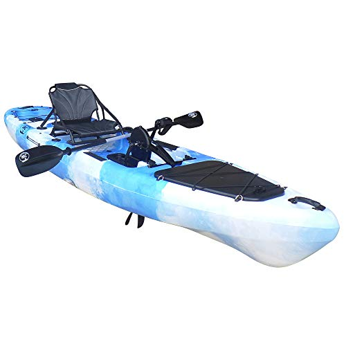 BKC PK13 13' Pedal Drive Fishing Kayak W/Rudder System and Instant Reverse, Paddle, Upright Back Support Aluminum Frame Seat, 1 Person Foot Operated Kayak (Blue Camo)