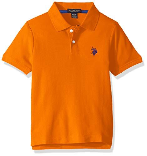 U.S. Polo Assn. Boys' Big Short Sleeve Performance Polo Shirt, Canoe Orange, 10/12
