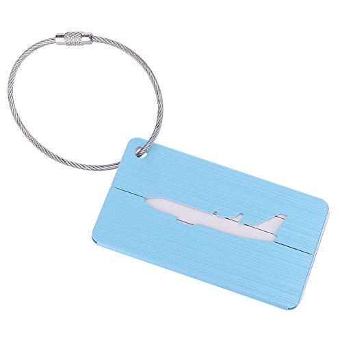 Cyrank Etiquetas de Equipaje de aleación de Aluminio, Etiqueta de Equipaje, Tarjeta de identificación para identificar rápidamente la Maleta de Equipaje, Etiquetas de Equipaje(Azul)