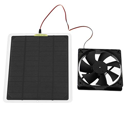 Monland Ventilador de Escape Solar RV 50W 6 Pulgadas Ventilador IP65 Ventilador de Panel Solar Impermeable para AutomóViles, Invernaderos, Casas de Mascotas