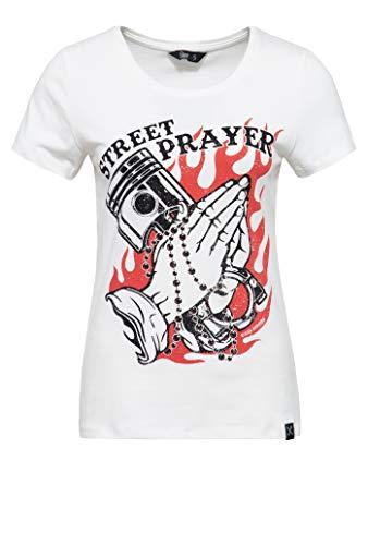 Queen Kerosin Street Prayer Camiseta, Blanco Roto, XL para Mujer