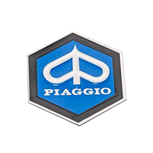 Emblem Piaggio 6-Eck Kaskade für Vespa PX T5 etc. - Aluminium, selbstklebend 31x36 mm