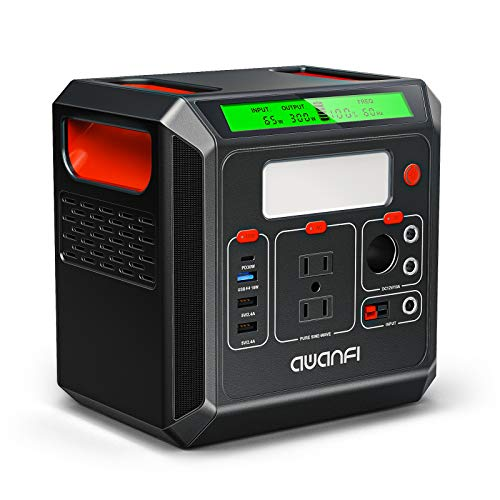 AWANFI ポータブル電源 大容量 300Wh/83333mAh 蓄電池 正弦波 2AC(定格300W 最大400W 瞬間800W)/PD30W/ DC/USB/QC3.0急速充電対応 LCD大画面表示 ソーラー充電 50Hz/60Hz切替え LEDライ