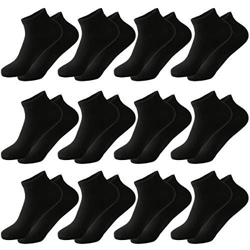 MOCOCITO 6/8/12 Pares Calcetines Cortos Hombre & Mujer   Calcetines Deporte   Calcetines Mujer Divertidos   Calcetines Invisibles Mujer   Talla:35-48 (12 Pares Negro, L)