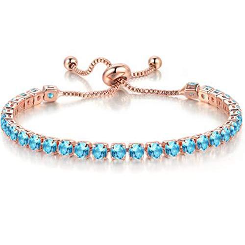 Jude Jewelers Pulsera de cadena apilable, tamaño ajustable, circonita cúbica
