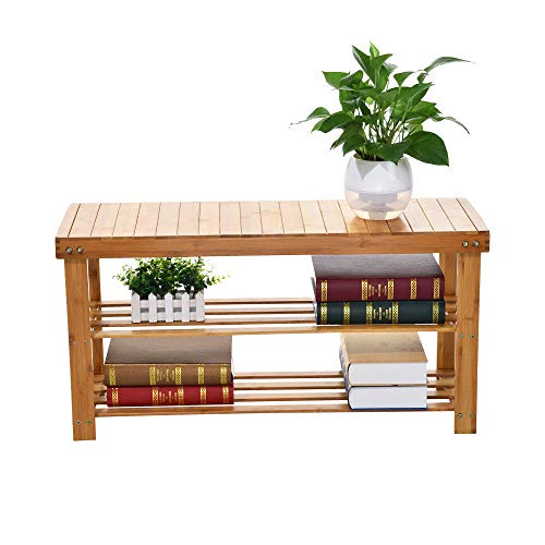 Sturdy Bamboo Shoe Rack Bench | Natural Bamboo Entryway Bench Shoes Cabinet Storage Organizer Rack with Seat | 3-Tier Storage Shelf Holds Up to 264 Lbs (Orange)