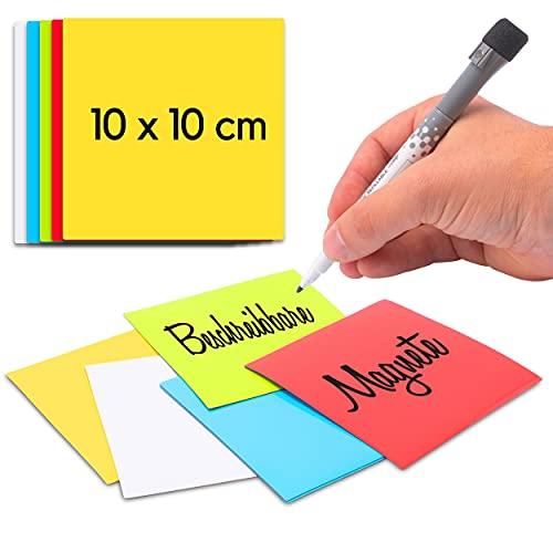 Imanes para escribir – 25 unidades de 10 x 10 cm – Etiquetas magnéticas coloridas para escribir en Canban y Scrum Board – Tarjetas magnéticas para superficies magnéticas (nevera, pizarra
