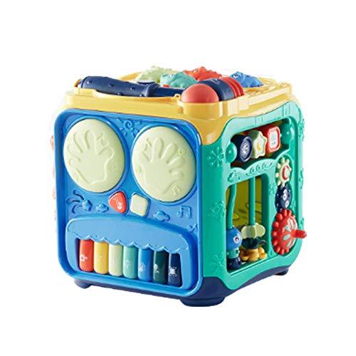 MODEO Cubo De Actividad De Educación Temprana para Bebés, Juguete De Cubo De Actividad Musical con Martillo/Juego De Rompecabezas De Cubo De Actividad 6 En 1 para Bebés De 1 a 3 Años
