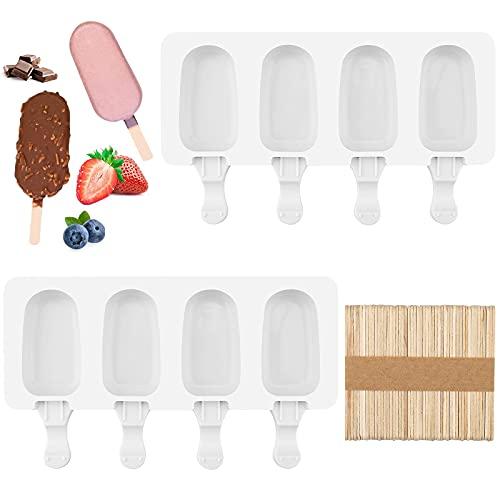 2 piezas Molde Helado, moldes helados silicona para helado de paleta, equipado con 50 palos de madera molde para helado de postre congelado, apto para niños y adultos, fácil de lavar y enjuagar.