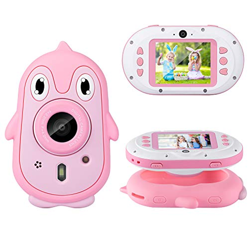 LUOSI Kids Diving Digital Camera 3M | Waterproof Video Camera | Anti-Drop Selfie Camcorder 2.4 inch HD Screen | Gift and Toy for Children Age 4 to 12 Include Soft Silicone Case (Pink)