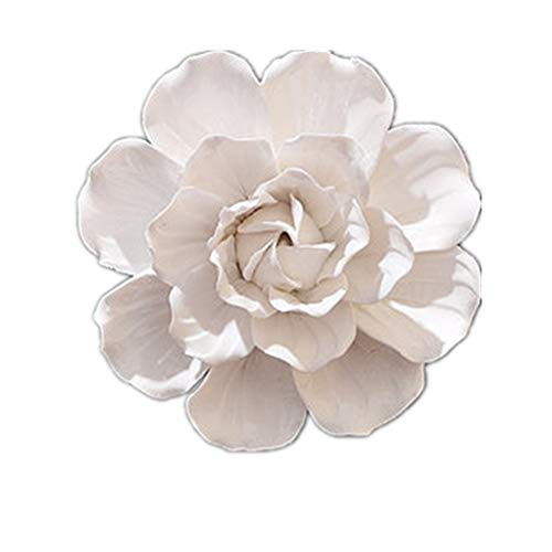 BestBang Handmade Ceramic Rose Flowers Three-Dimensional TV Sofa Background Wall Decorations Creative Living Room Ornaments (White Camellia, 3.54'')