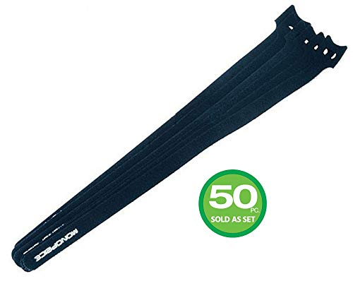 Hook & Loop Fastening Cable Ties, 13-inch, 50pcs/pack, Black