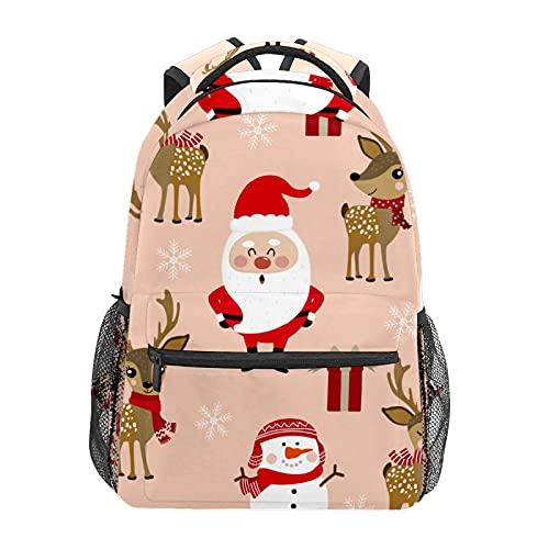 Zainetto di Babbo Natale con renna e fiocco di neve, zaino per scuola, università, viaggi, escursionismo, moda per computer portatile, per donne, uomini, adolescenti, casual, borse di tela