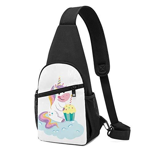 Happy Birthday Unicorn Clipart - Mochila de hombro ligera con diseño de unicornio, color Negro, talla Talla única