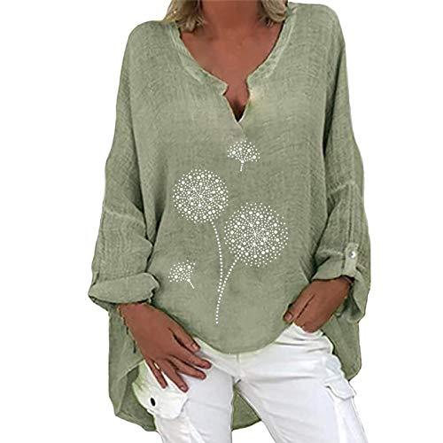 Masrin Übergroße Baumwoll- und Leinenoberteile Damen Tunika Vintage Löwenzahndruck Pullover Plain Simplicity T-Shirts Oberteil V-Ausschnitt Langarm Lose Asymmetrische Bluse(L,Hellblau)