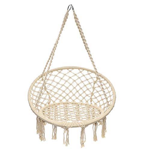 DHTOMC Hamaca colgante de malla, cuerda tejida, barra de madera blanca, asiento de hierro + cordón de algodón, asiento ancho