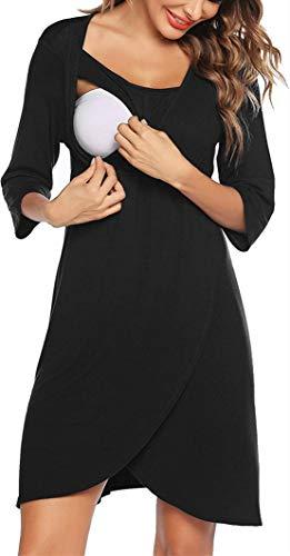 Ropa para Dormir para Premamá Camisón Embarazada Maternidad Camisones Lactancia Hospital Parto Otoño Vestido de Pijama/2XL Negro