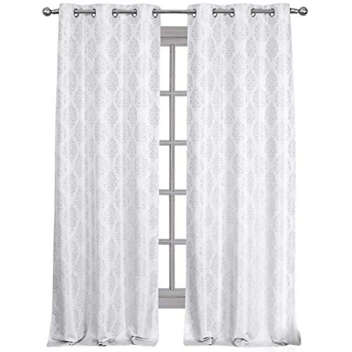 Royal Hotel Paisley Jacquard White, Top Grommet Blackout Window Curtain Panels, Pair/Set of 2 Panels, 36x84 inches Each