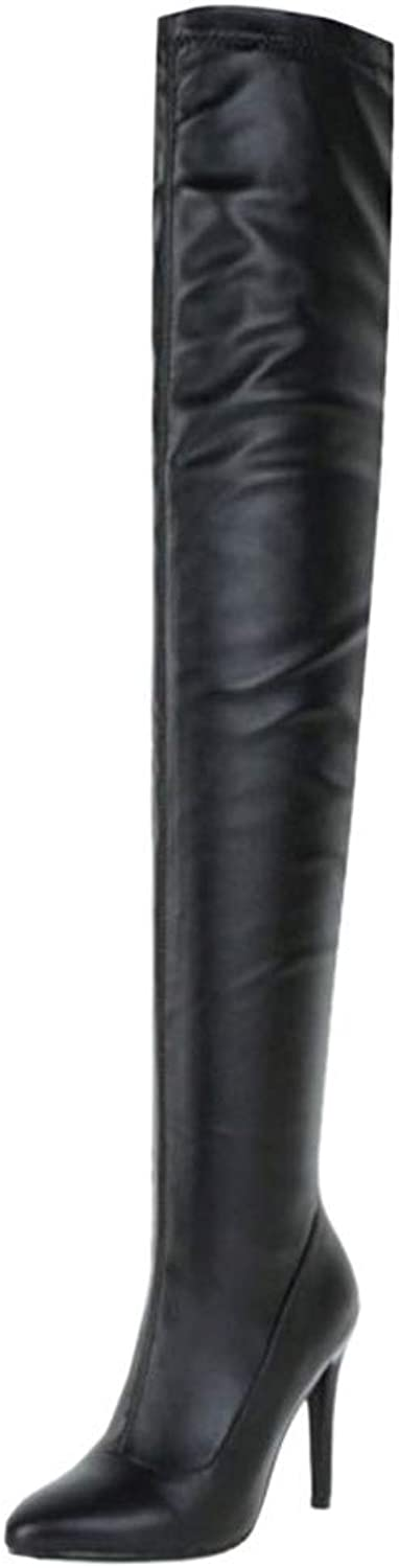 Unm Women Fashion High Heel Over The Knee Boots Half Zipper