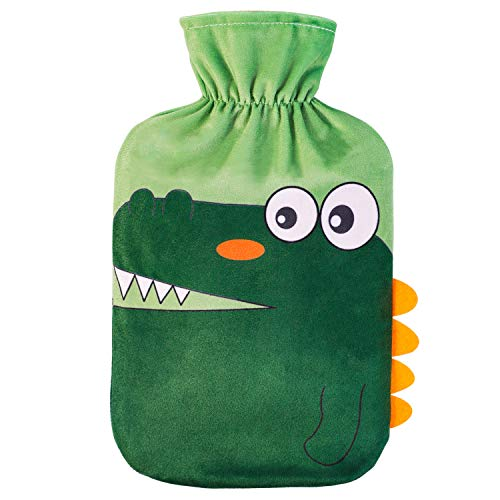 HomeTop Large 2 Liter Soft Fleece Cute Crocodile Hot Water Bottle Cover - ONLY Cover (2L, Green)