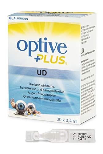 Allergan Optive® PLUS UD Augentropfen trockene Augen Einzeldosen | 30 x 0,4ml Augentropfen mit Hyaluron + CMC | Ideale Augentropfen gegen rote Augen