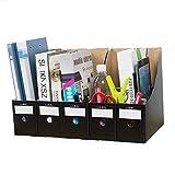 AGWa Documento 5pcs / Set Rack, titular del archivo de almacenamiento caja de lápiz de la escuela Revista plegable mostrador de documentos simple organizador de papel Kraft, Negro,Negro