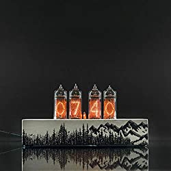Hand painted Nixie Tube Clock with Replaceable IN-14 Nixie Tubes, Motion Sensor, Visual Effects, Wooden Gift Packaging