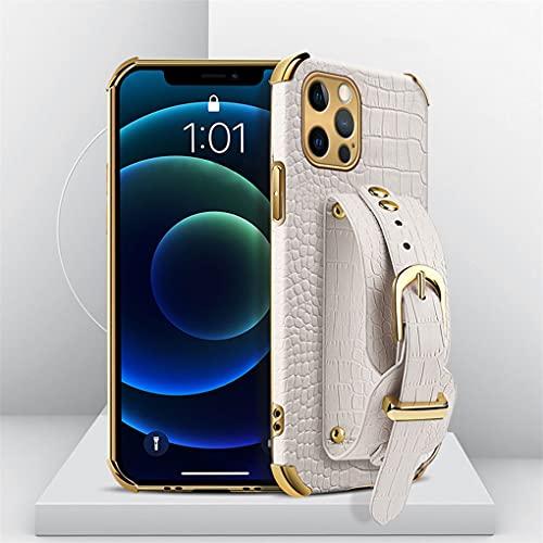 Hadwii Funda para iPhone 11 Pro Max con brazalete ajustable, piel de cocodrilo, funda para correr, funda de piel sintética para iPhone 11 Pro Max, color blanco