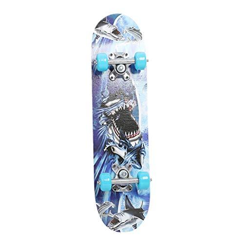 Skateboard Komplettboard 60x15cm Skate Board, 9-lagiges Ahornholz Komplett Board Funboard für Anfänger und Kinder, Mädchen und Junge, Skate Belastung 165 Pfund (Blau)