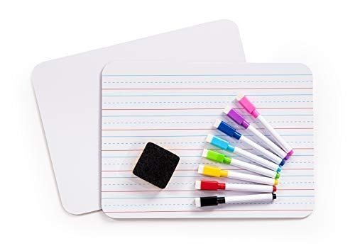 Small White Boards for Students, Dry Erase Board for Kids with Markers, 2 Pack, Double-Sided