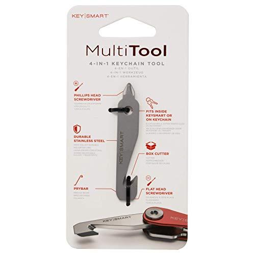 KeySmart MultiTool 4-in-1 Mehrzweck-Schlüsselanhänger-Werkzeug mit Box Cutter, Stemmeisen, Kreuzschlitz und Schlitzschraubendreher