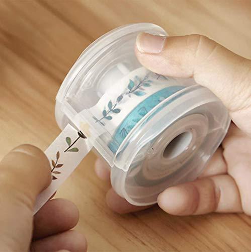 Yubbaex Washi Tape Dispensador de cinta organizadora de plástico portátil para oficina, para manualidades, manualidades, suministros para diario bala, álbumes de recortes, cilíndrico (60 mm) (transparente)