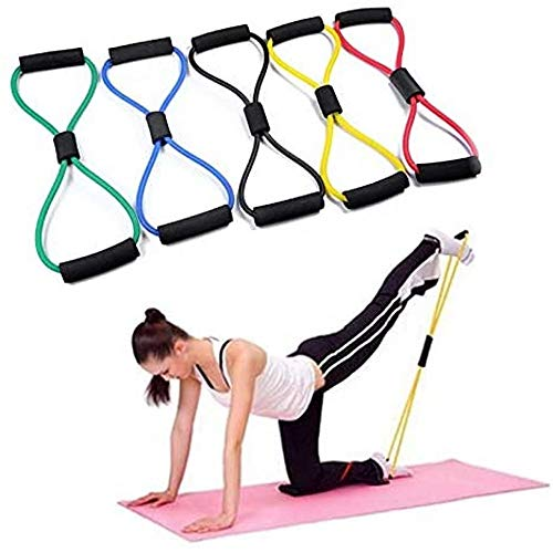 SESSRYMNIR 8 Shaped Tension Stretch Belt High Elasticity Resistance Band Fitness Pull Device Yoga Pilates Stretch Band Rope Shoulder Arm Elastic Rope Yellow
