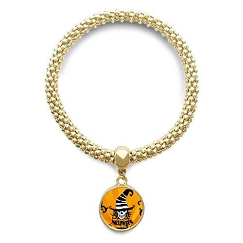 DIYthinker Damen Schädel Marker Zaubererhut Halloween Goldene Armband-Laufende hängende Schmuckkette