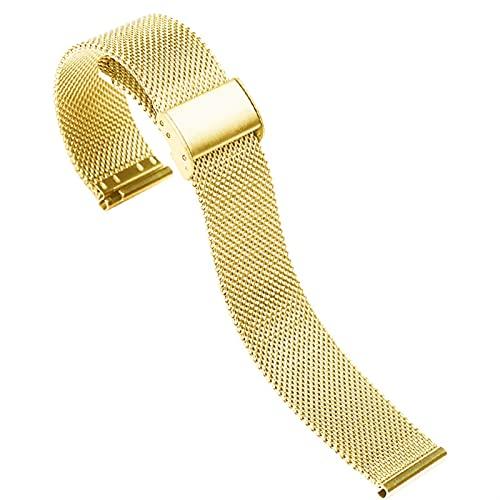 ZXF Correa Reloj, Malla de Acero Inoxidable Reloj de Reloj de Gancho con Hebilla de Reloj de Reloj de relojería de reemplazo 18 20 22 mm (Band Color : Gold, Band Width : 20mm)