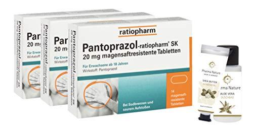 Pantoprazol Ratiopharm SK 20mg 3 x 14 Stück Sparset inkl. einer Handcreme ODER Duschbad von Pharma Nature