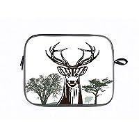 パソコン ケース 北欧スウェーデンデザイン 360°保護用スリーブ 耐衝撃 インナーケース ラップトップ (14インチ) 枝角の装飾、鹿山ムース装飾的な村山秋の森の木シルエットアウトライン、