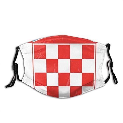 IUBBKI Kroatien Flagge Mundabdeckung Unisex Wiederverwendbare waschbare Gesichtsabdeckung FashionforFace Schal Bandana mit Zwei Filtern