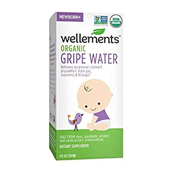 Wellements Organic Gripe Water 4 Fl Oz Eases Baby s Stomach Discomfort and Gas Free From Dyes Parabens Preservatives