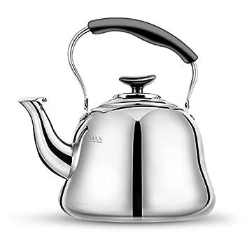 Tea Kettle Stovetop Whistling Teakettle Teapot Stainless Steel Thin Base Mirror Finish 2 liters