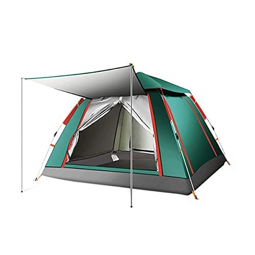 QSWL Tienda Campaña Al Aire Libre 3-4 Personas Playa Gruesa Impermeable Impermeable Acampar Totalmente Camping Apertura Rápido Tienda Cuatro Lados (Color : Green, Size : 240x240x155cm)
