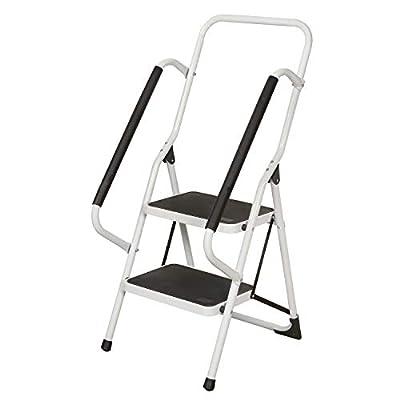Folding Step Ladder - Safety Ladder with Padded Side Handrails