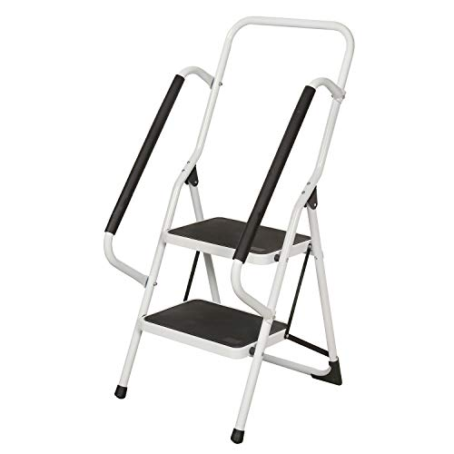 Support Plus Folding 2-Step Safety Step Ladder with Padded Side Handrails