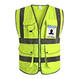 XIAKE Class 2 Reflective Safety Vest with 9 Pockets and Zipper Front High Visibility Safety Vests,ANSI/ISEA Standards(2X-Large,Yellow)