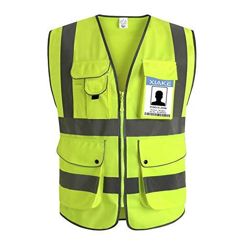 XIAKE Unisex 9 Taschen Warnweste Hohe Sichtbarkeit Weste Reflektierende EN ISO 20471 Standards mit Reißverschluss Gelb XXL
