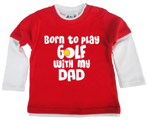 Dirty Fingers, Born to Play Golf with My Dad, Baby Skater Top - Rouge - XXS