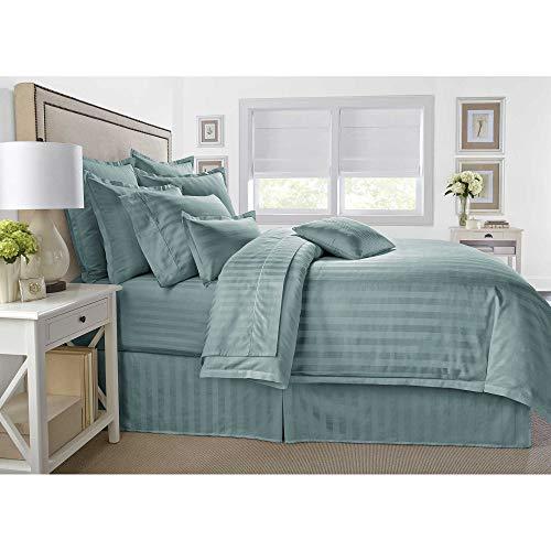 Wamsutta 500-Thread-Count PimaCott Damask Stripe King Comforter Set in Aqua