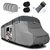 RVMasking 2021 Upgraded 6 Layers Top RV Class C Cover Windproof Camper Cover for 23' - 26' RV with 4 Tire Covers, Gutter Cover - Anti-uv Prevent Top Tearing Due to Sun Exposure