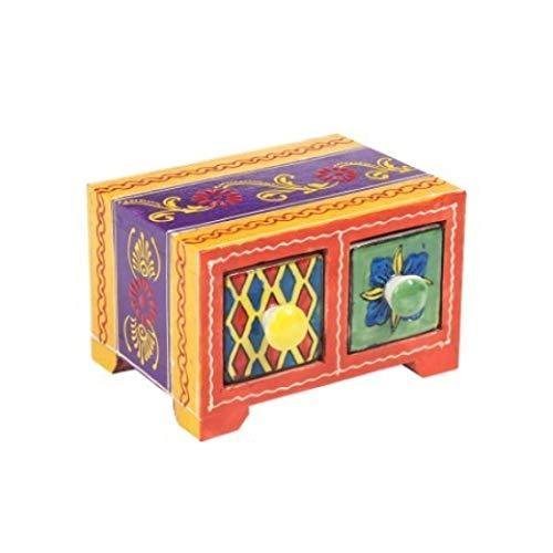 Vidal Regalos Indisches Gewürzschränkchen mit 2 Schubladen, Holz/Keramik, 14 cm